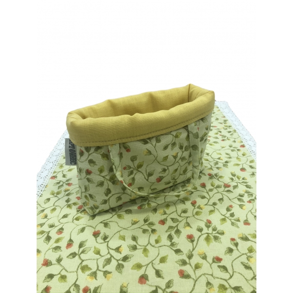 Textile basket and runner table green and flowers 2